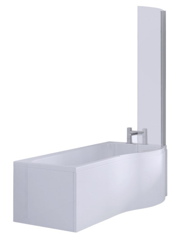 P Shape 1500mm Right Hand Shower Bath with Screen and Panel