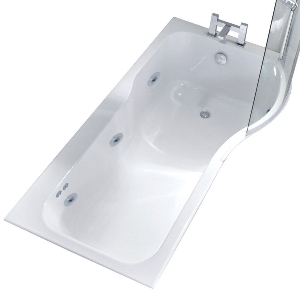 P Shape 6 Jet Chrome Flat Jet Whirlpool Shower Bath 1700 mm with Screen and Panel Right Hand