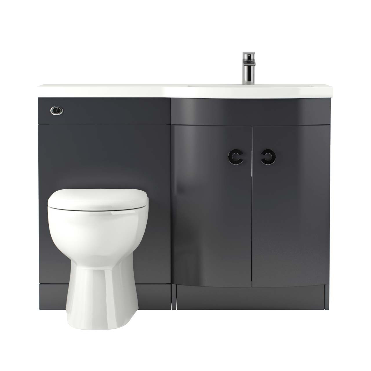 Paris Right Hand Curved 1100mm Grey Gloss Vanity Unit Toilet Suite