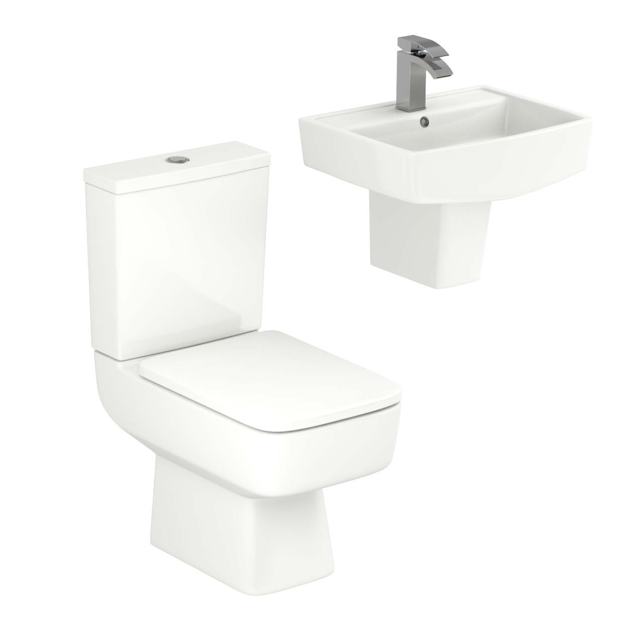 Paulo 520mm Semi Pedestal Basin & Toilet Suite