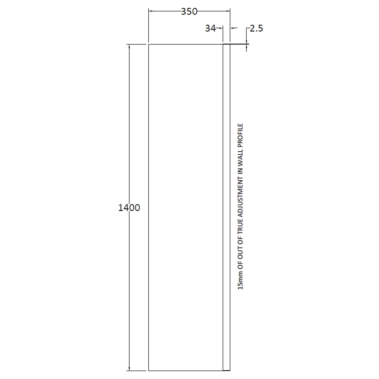 Nuie 350mm Straight Fixed Bath Screen - NSSF1