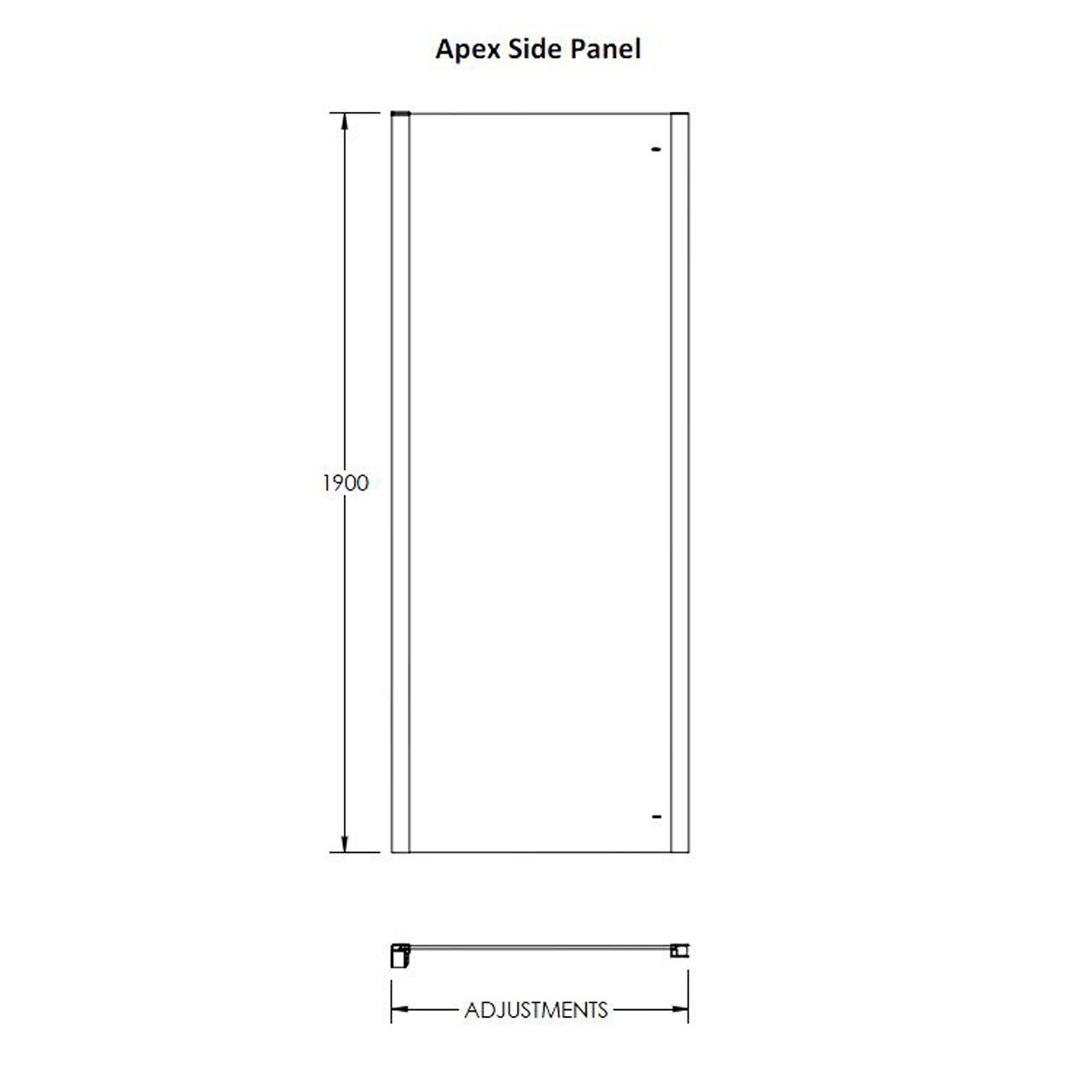 Premier 900mm Side Panel 8mm Thick- M90EP-E8