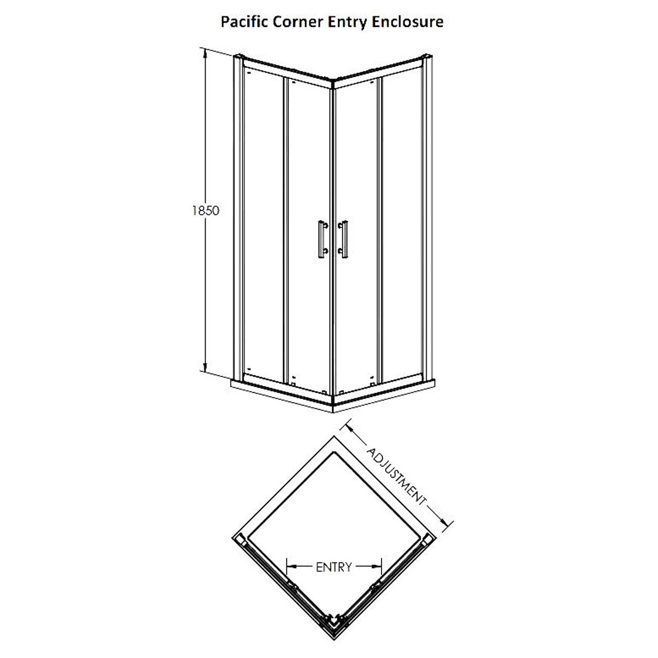 Premier Aegean Corner Entry Enclosure 760mm x 760mm - AFCE7676
