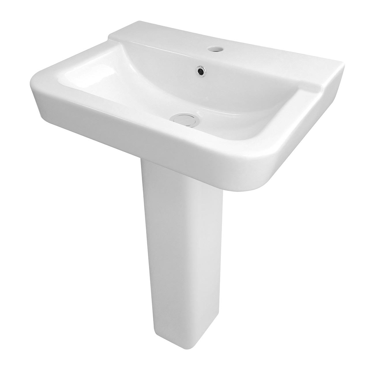 Hudson Reed Arlo 550mm Basin with 1 Tap Hole and Full Pedestal - CPC025