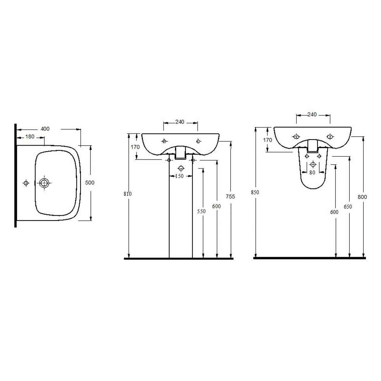 Nuie Ambrose 500mm Basin with 1 Tap Hole and Full Pedestal - CPC022