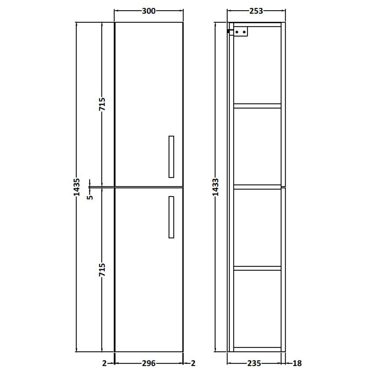 Nuie Athena Driftwood 300mm 2 Door Tall Wall Hung Unit - MOC162