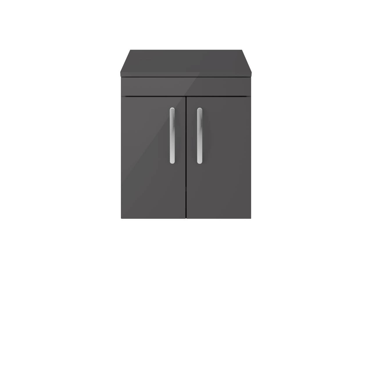 Premier Athena Gloss Grey 500mm Wall Hung 2 Door Vanity Unit with Worktop - ATH087W
