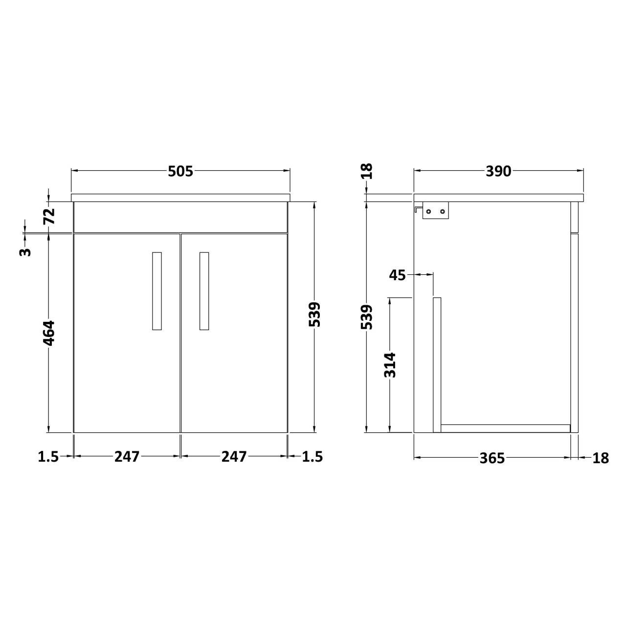 Nuie Athena Gloss Grey 500mm Wall Hung 2 Door Vanity Unit with Worktop - ATH087W