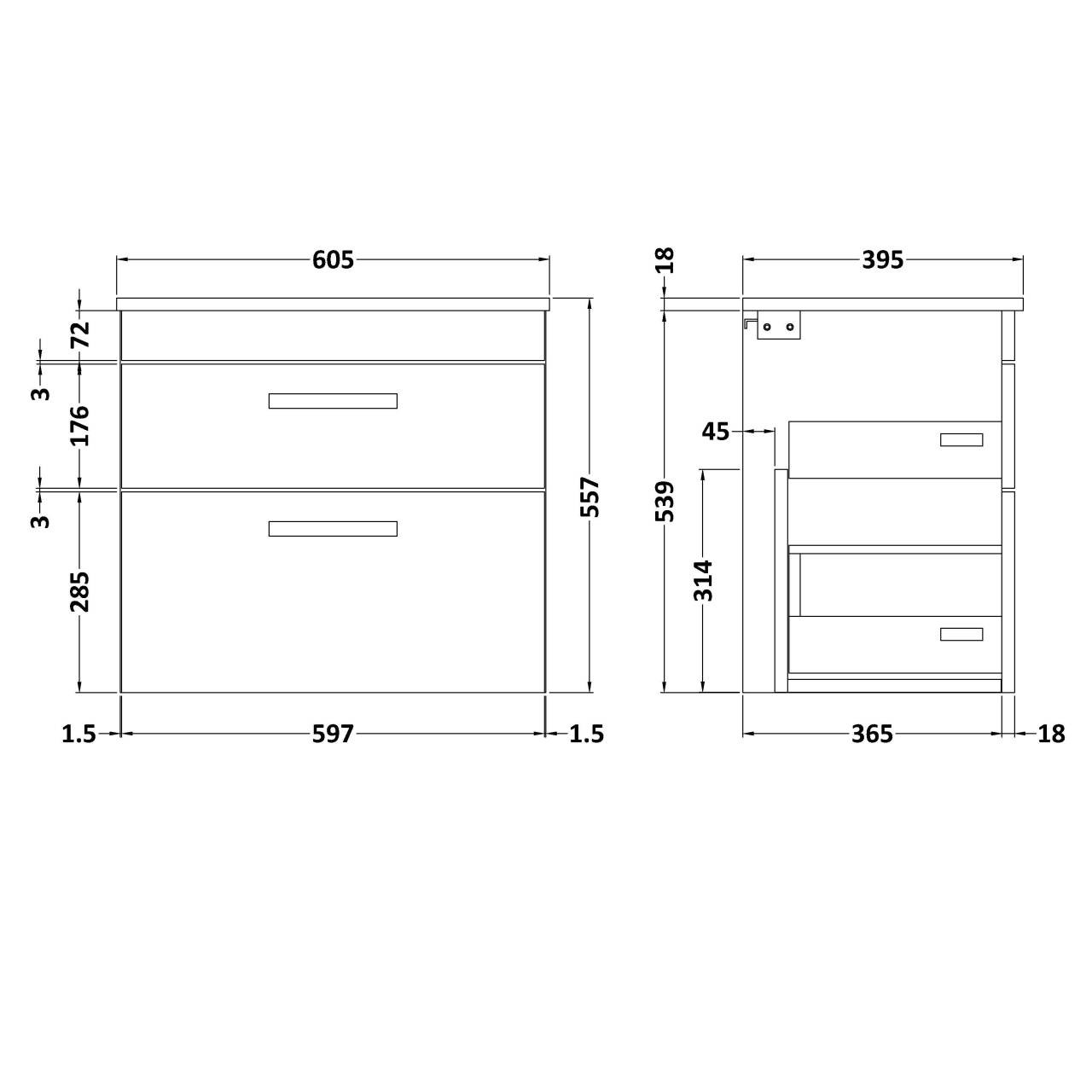 Nuie Athena Gloss White 500mm Wall Hung 2 Door Vanity Unit with Worktop - ATH088W