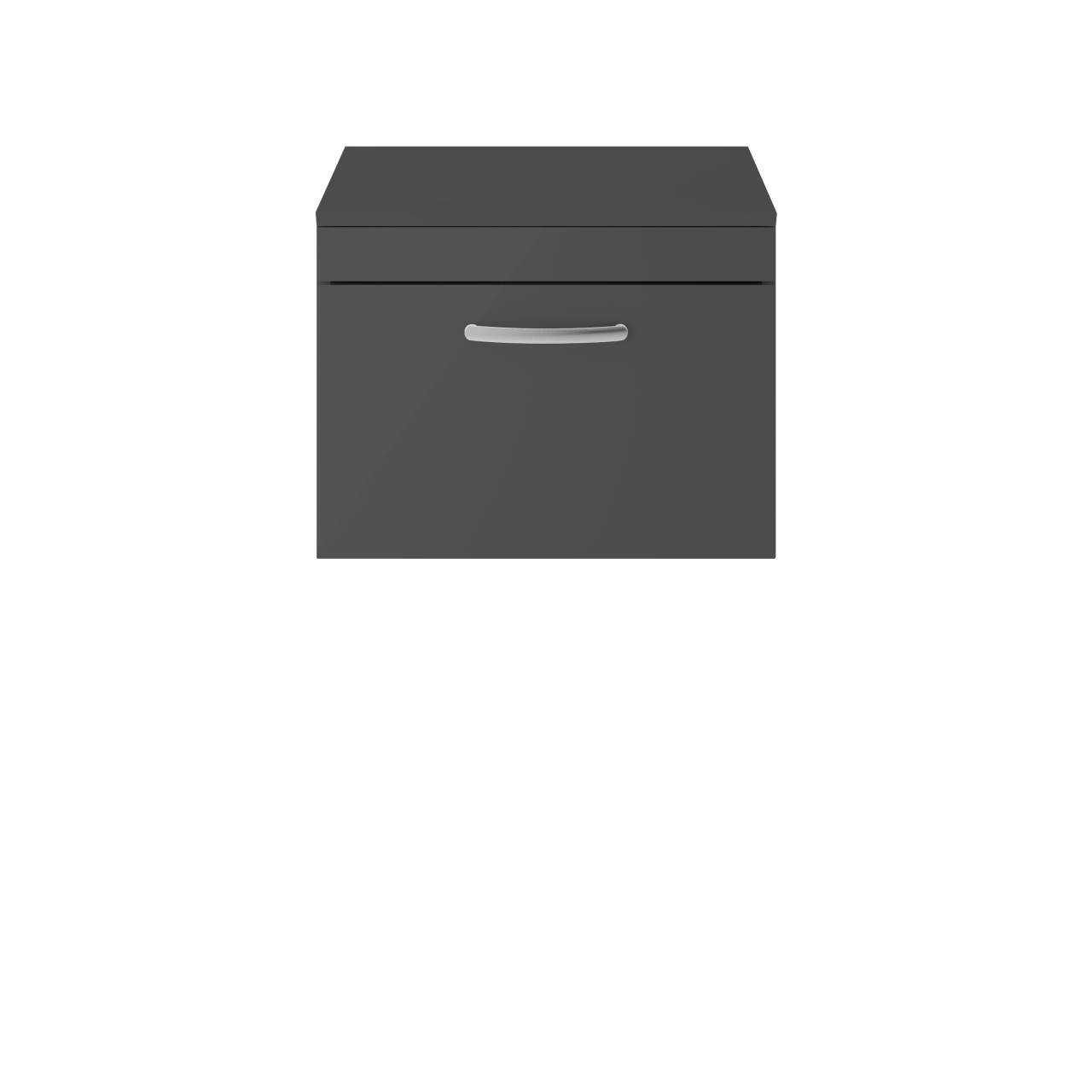 Premier Athena Gloss Grey 600mm Wall Hung Single Drawer Vanity Unit with Worktop - ATH077W