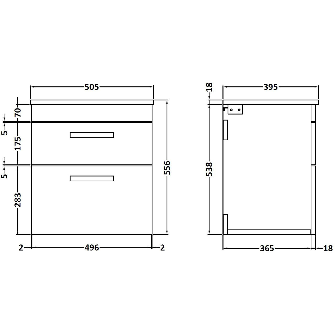 Nuie Athena Gloss White 500mm Wall Hung 2 Drawer Vanity Unit with Worktop - ATH020W