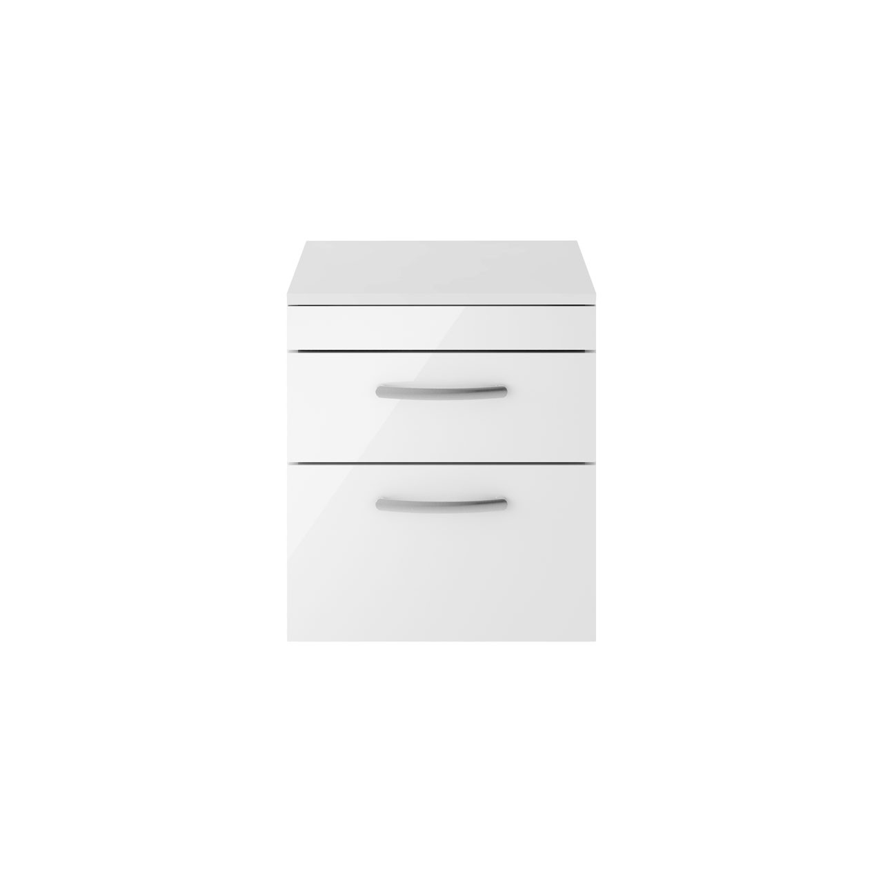 Premier Athena Gloss White 500mm Wall Hung 2 Drawer Vanity Unit with Worktop - ATH020W