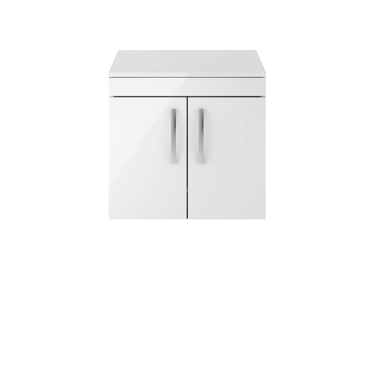 Premier Athena Gloss White 600mm Wall Hung 2 Door Vanity Unit with Worktop - ATH095W