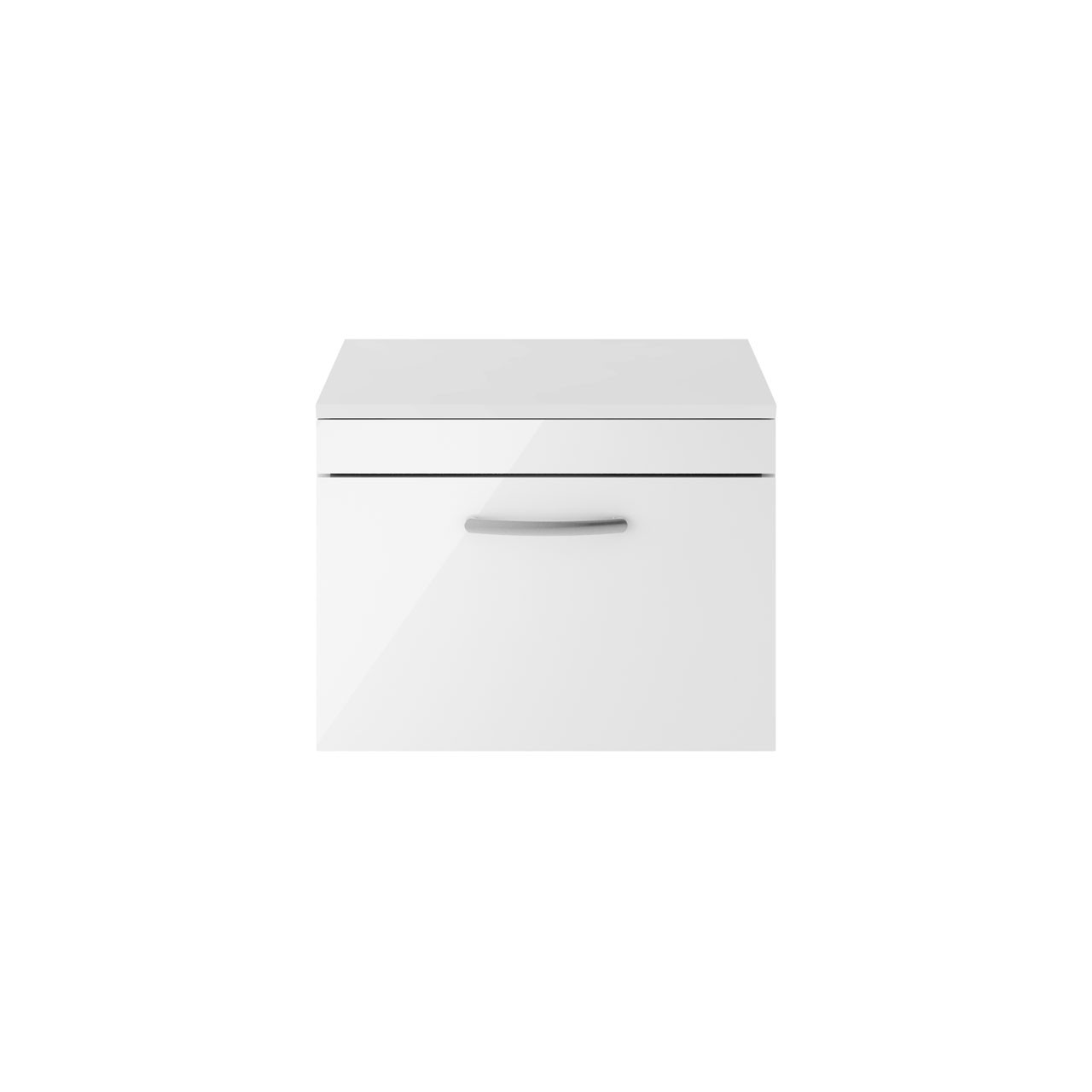 Premier Athena Gloss White 600mm Wall Hung Single Drawer Vanity Unit with Worktop - ATH041W