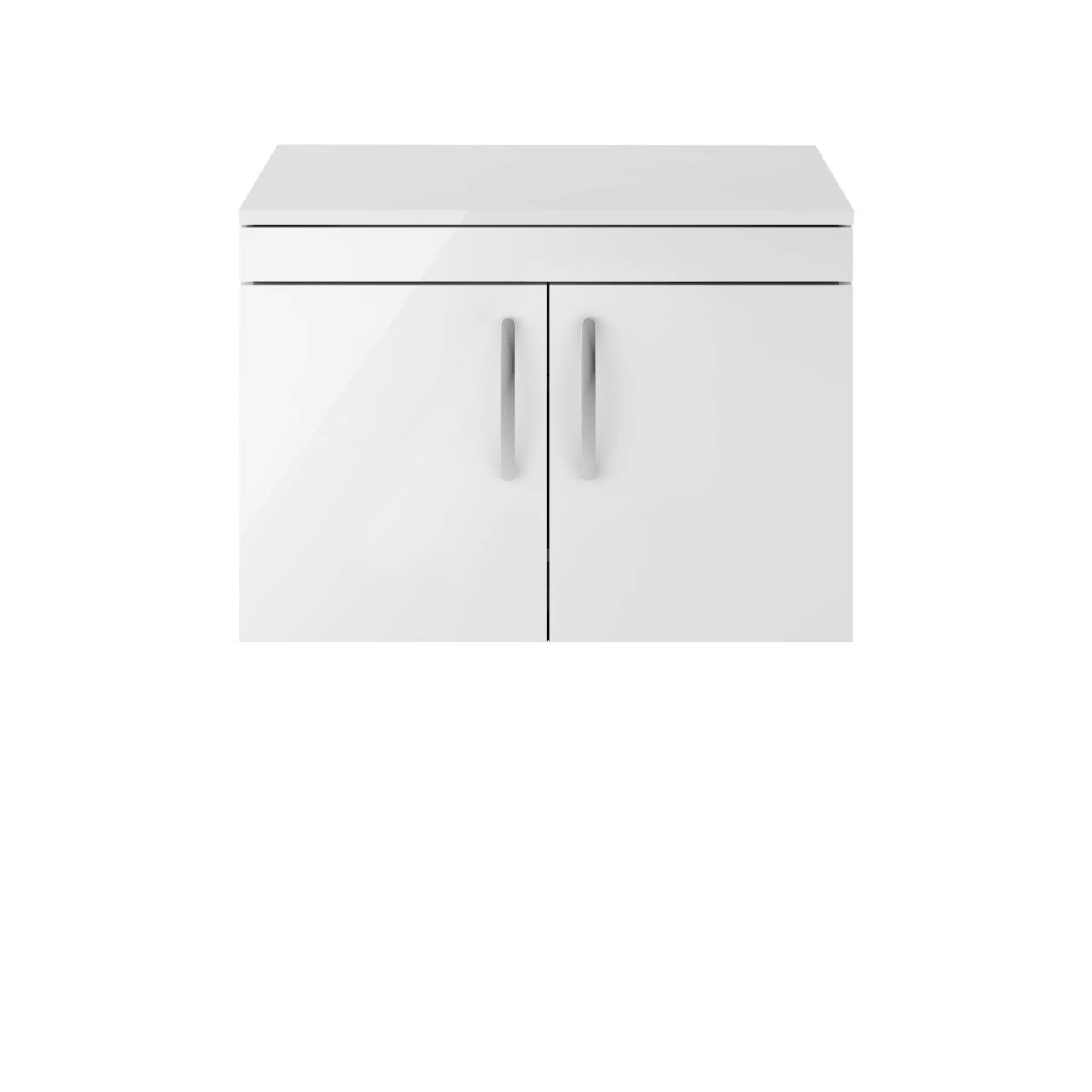 Premier Athena Gloss White 800mm Wall Hung 2 Door Vanity Unit with Worktop - ATH102W