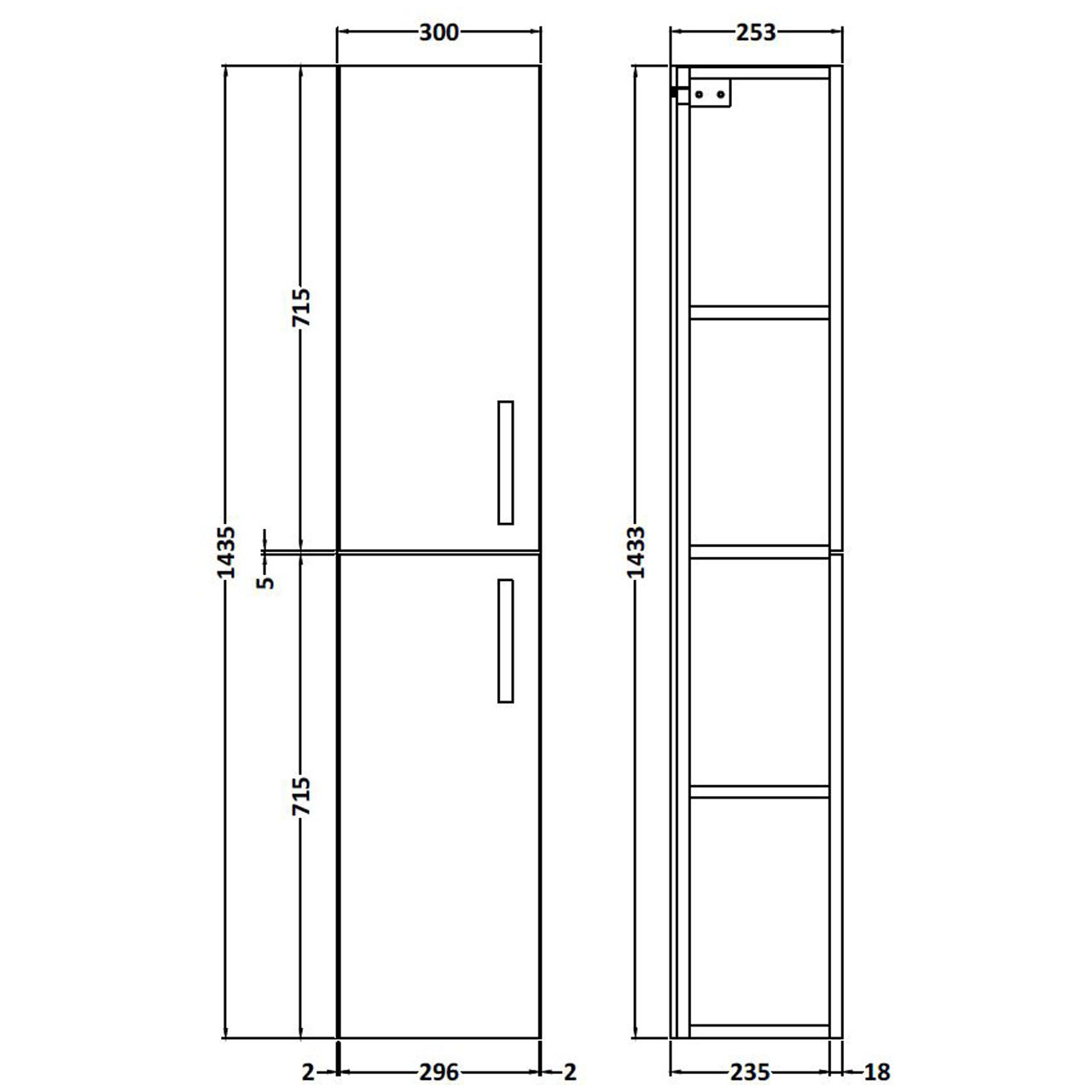 Nuie Athena Grey Avola 300mm 2 Door Tall Wall Hung Unit - MOD562