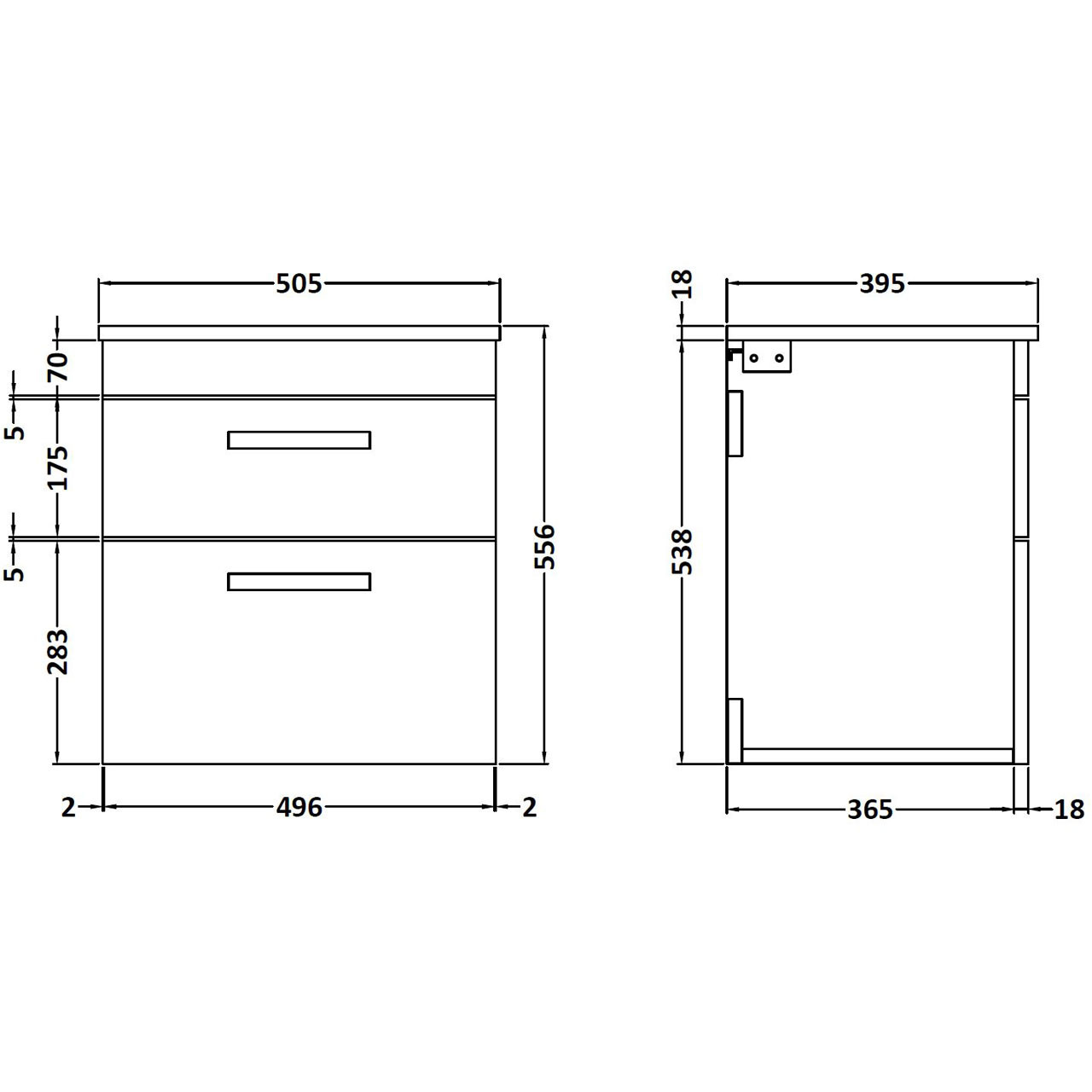 Nuie Athena Grey Avola 500mm Wall Hung 2 Drawer Vanity Unit with Worktop - ATH018W