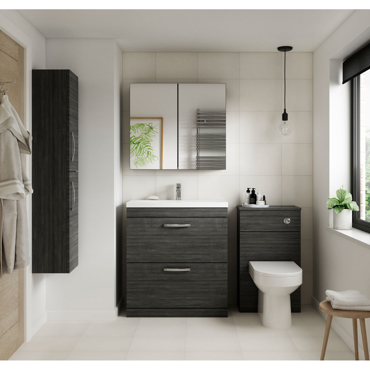 Premier Athena Hacienda Black 500mm Toilet Unit - MOD642