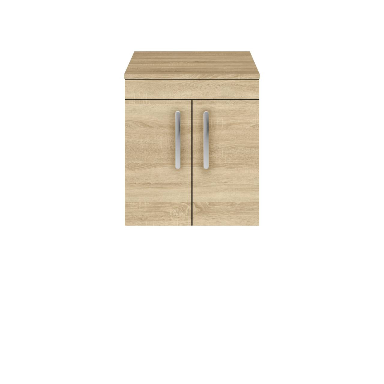 Premier Athena Natural Oak 500mm Wall Hung 2 Door Vanity Unit with Worktop - ATH084W