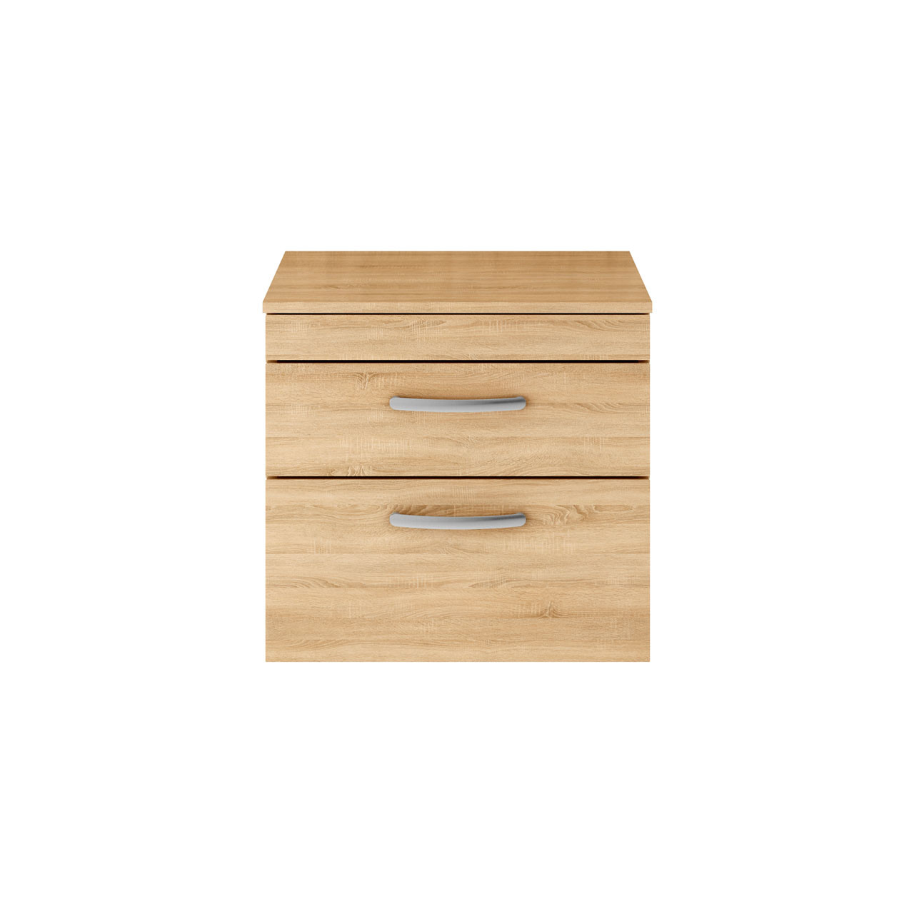 Premier Athena Natural Oak 600mm Wall Hung 2 Drawer Vanity Unit with Worktop - ATH045W