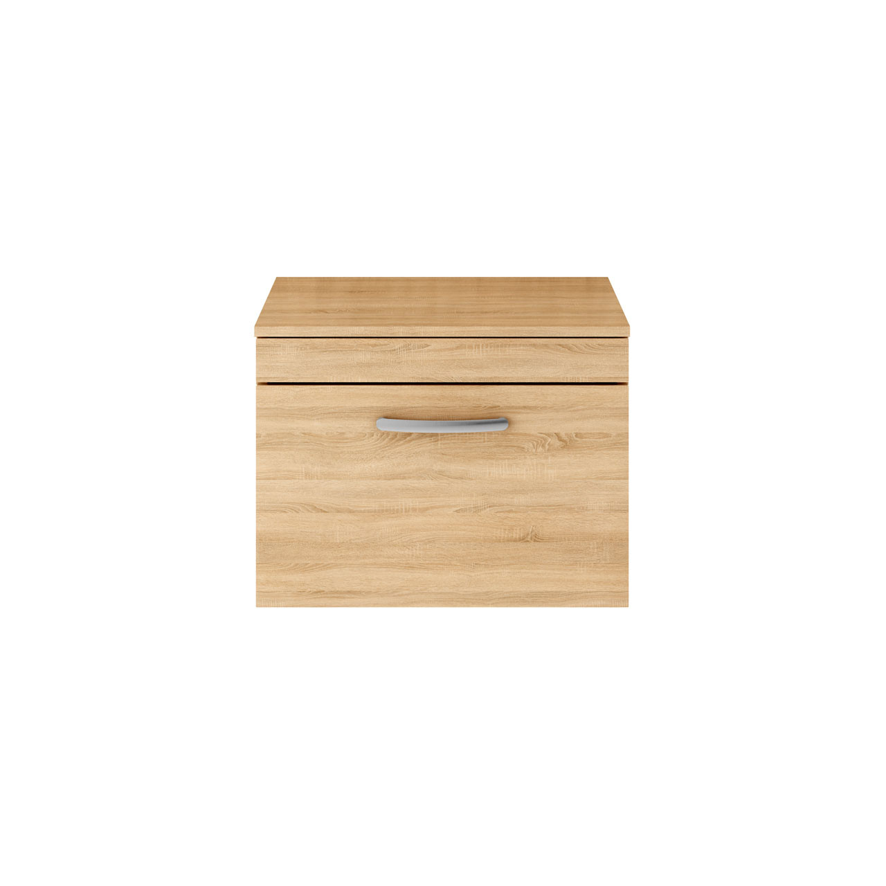 Premier Athena Natural Oak 600mm Wall Hung Single Drawer Vanity Unit with Worktop - ATH038W