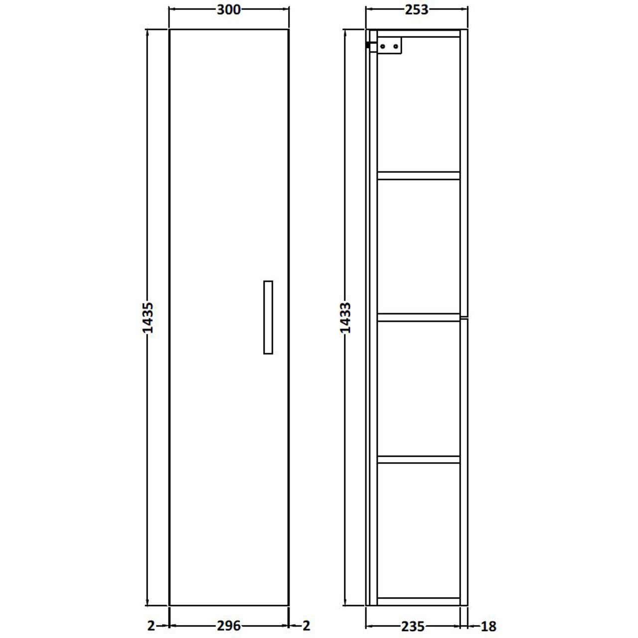 Nuie Athena Stone Grey 300mm Single Door Tall Wall Hung Unit - MOC561