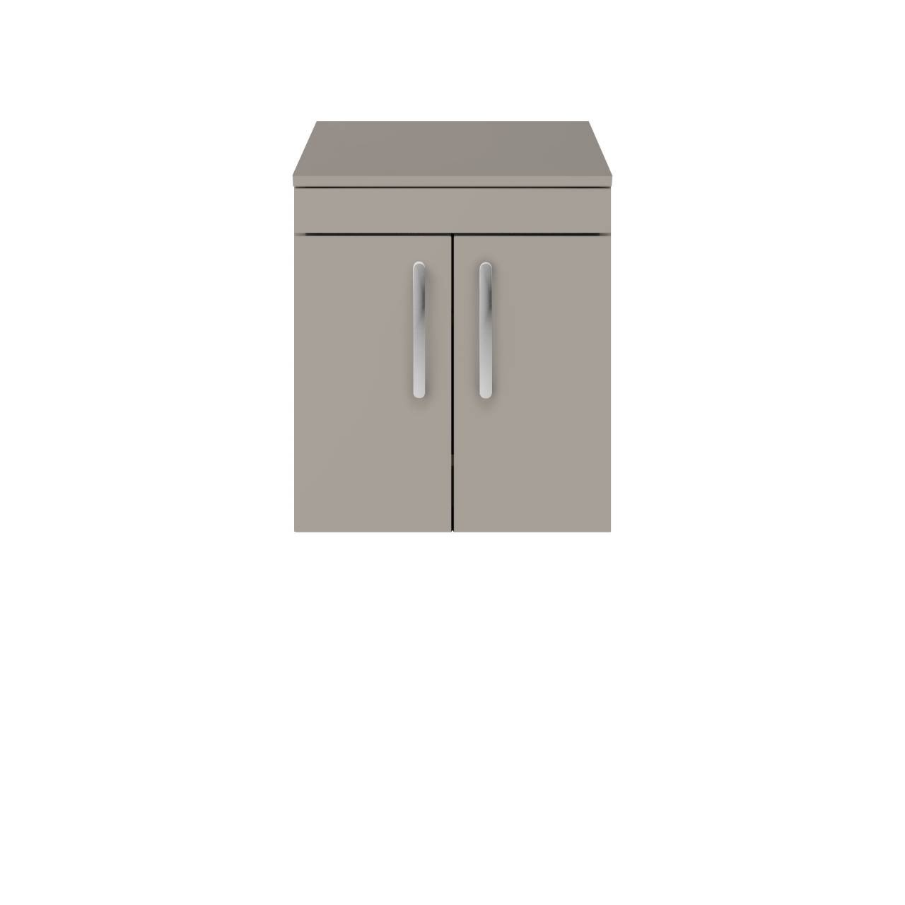 Premier Athena Stone Grey 500mm Wall Hung 2 Door Vanity Unit with Worktop - ATH083W