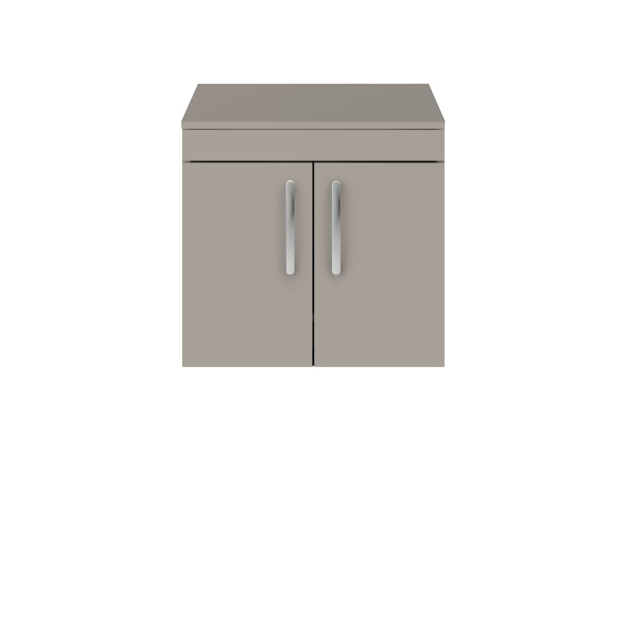 Premier Athena Stone Grey 600mm Wall Hung 2 Door Vanity Unit with Worktop - ATH090W