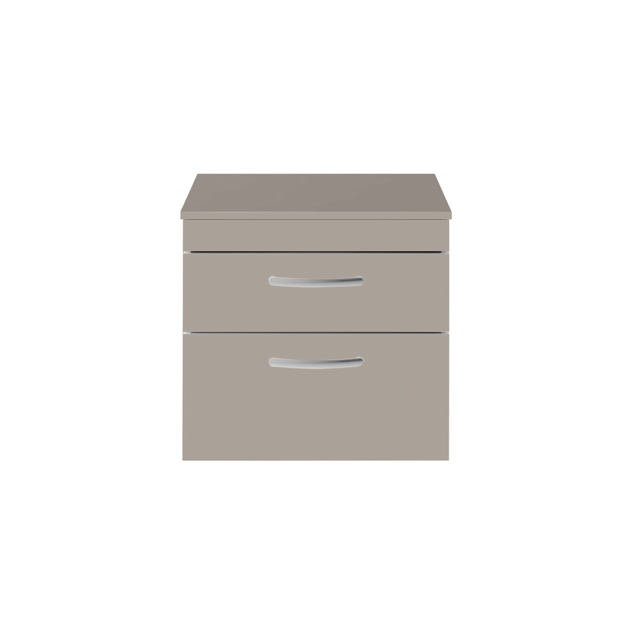 Premier Athena Stone Grey 600mm Wall Hung 2 Drawer Vanity Unit with Worktop - ATH049W