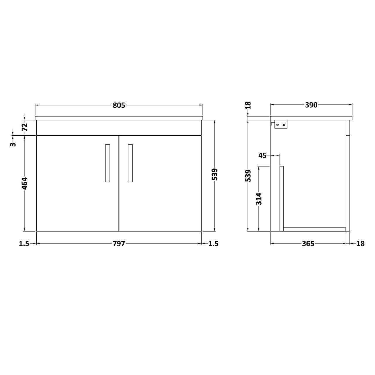 Nuie Athena Stone Grey 800mm Wall Hung 2 Door Vanity Unit with Worktop - ATH097W