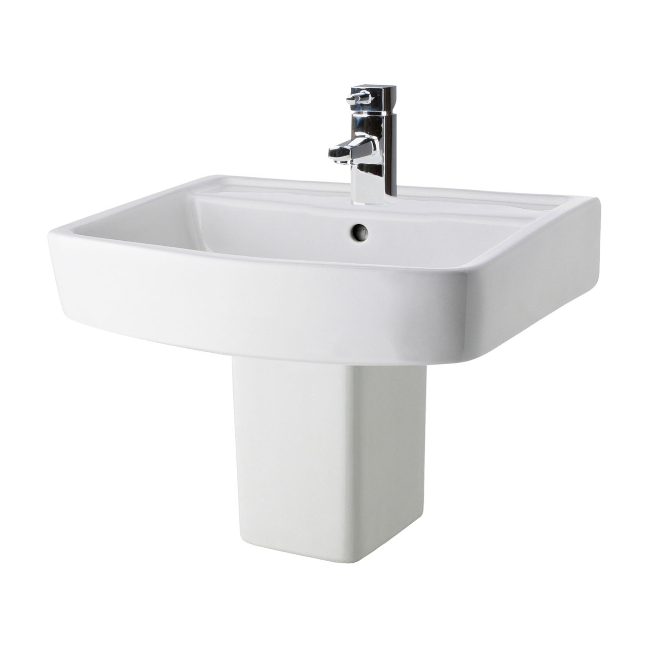 Premier Bliss 520mm Basin with 1 Tap Hole and Semi Pedestal - CBL011