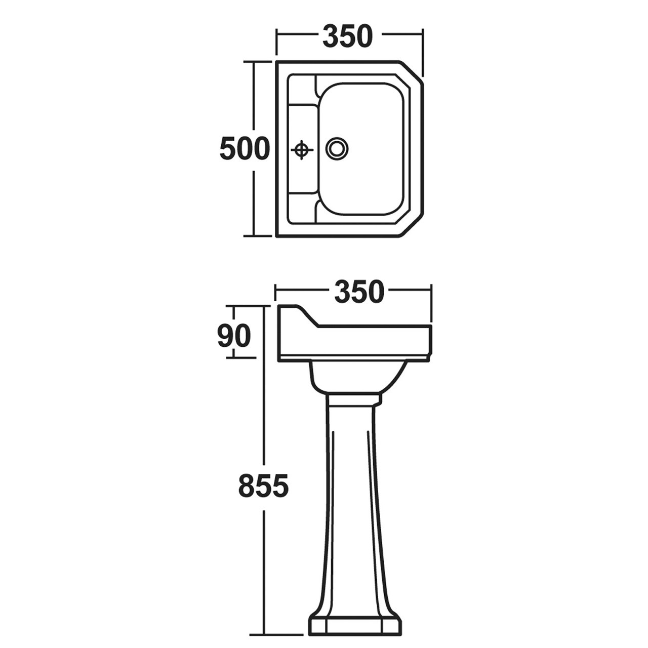 Hudson Reed Richmond 500mm Basin with 1 Tap Hole and Full Pedestal - CCR015