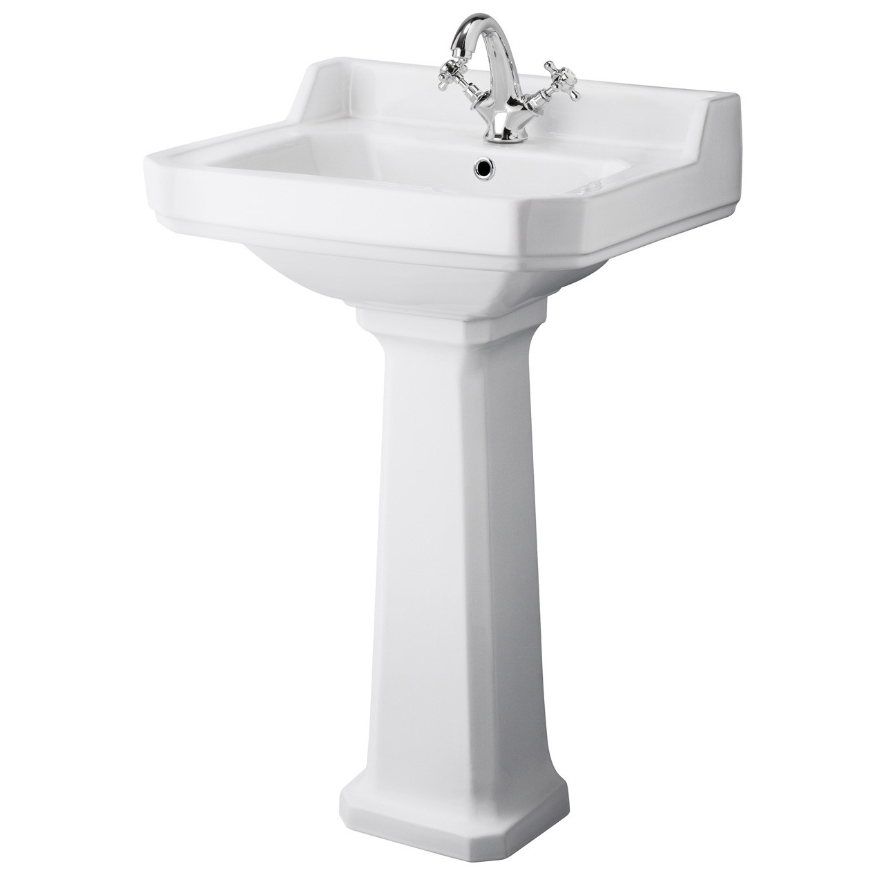 Hudson Reed Richmond 560mm Basin with 1 Tap Hole and Full Pedestal - CCR016