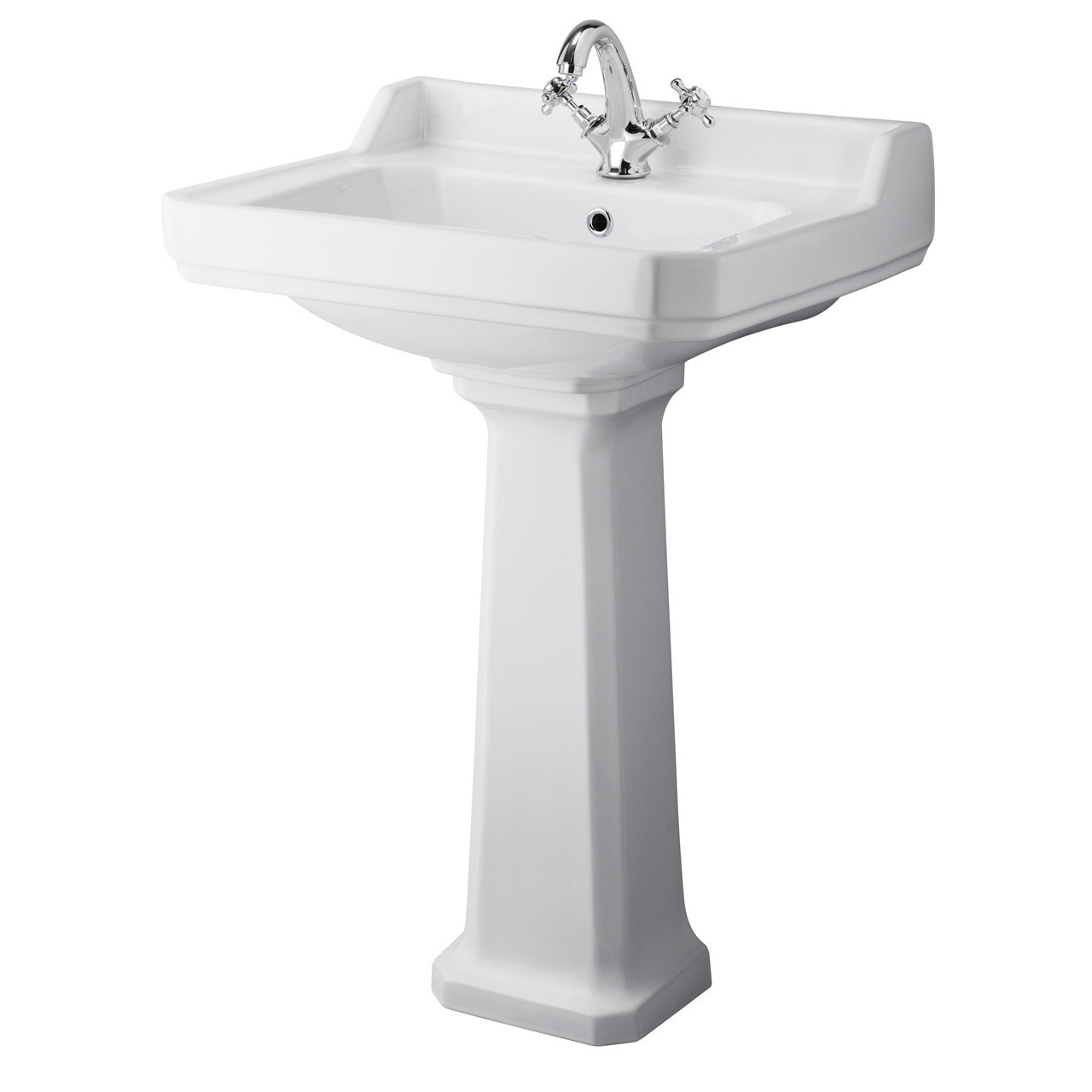 Hudson Reed Richmond 600mm Basin with 1 Tap Hole and Full Pedestal - CCR017