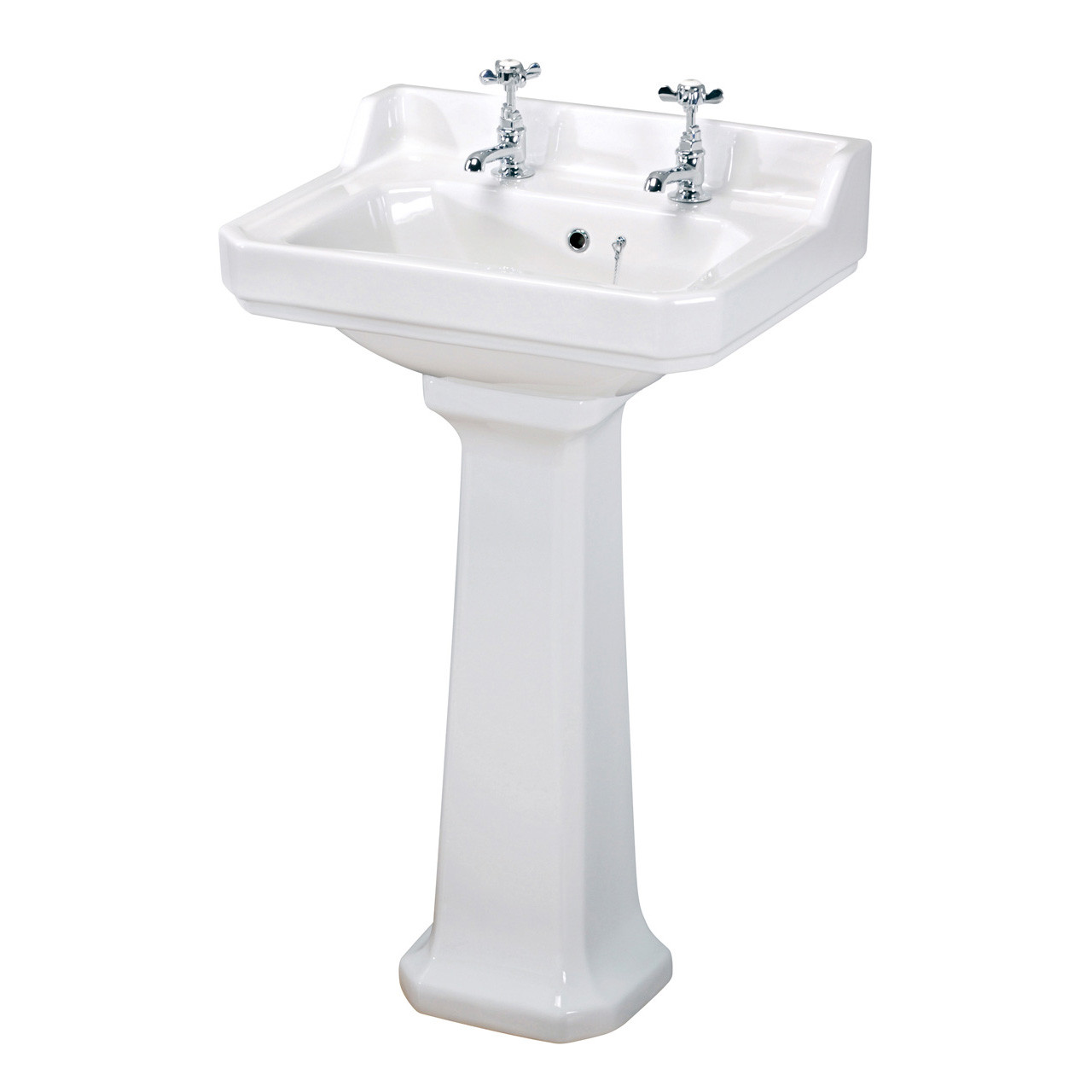 Hudson Reed Richmond 600mm Basin with 2 Tap Holes and Full Pedestal - CCR020
