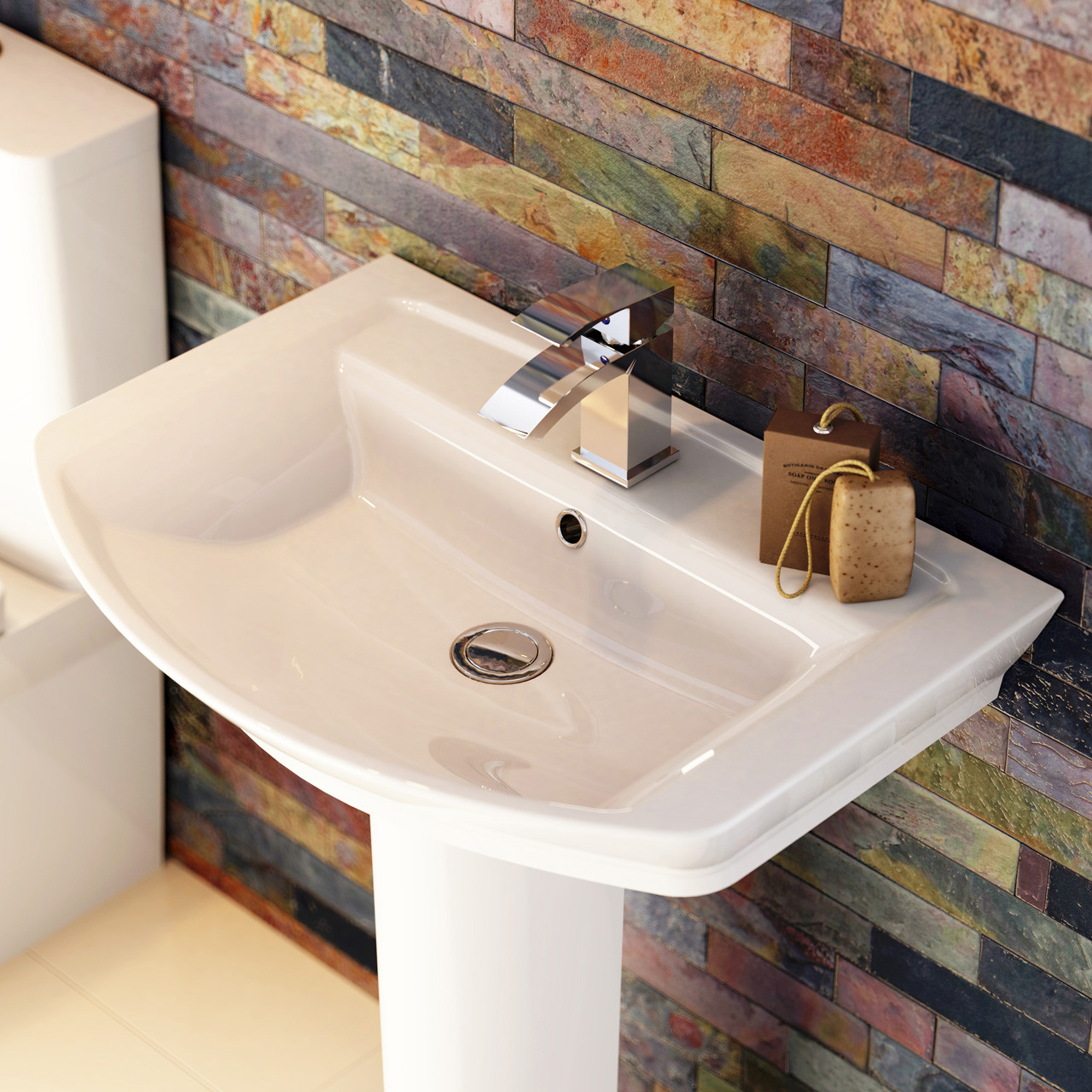 Hudson Reed Maya 550mm Basin with 1 Tap Hole and Full Pedestal - CCL002