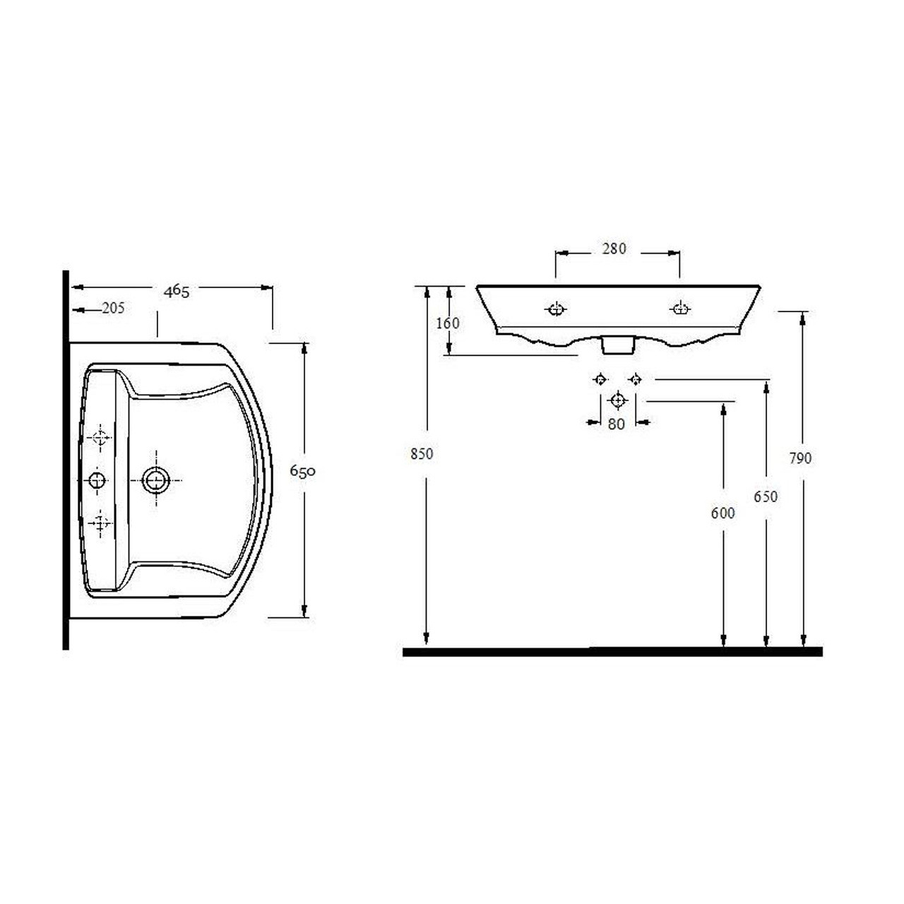 Hudson Reed Maya 650mm Basin with 1 Tap Hole and Semi Pedestal - CCL006