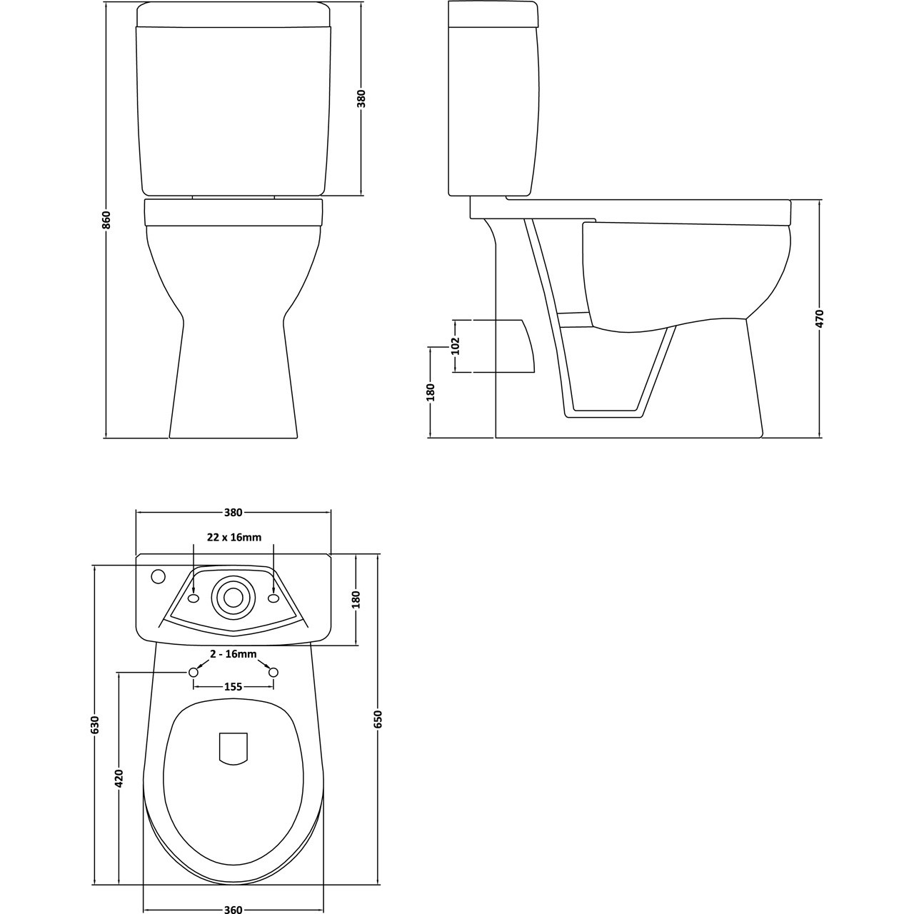 Premier Comfort Height Pan Cistern And Seat - NCS500