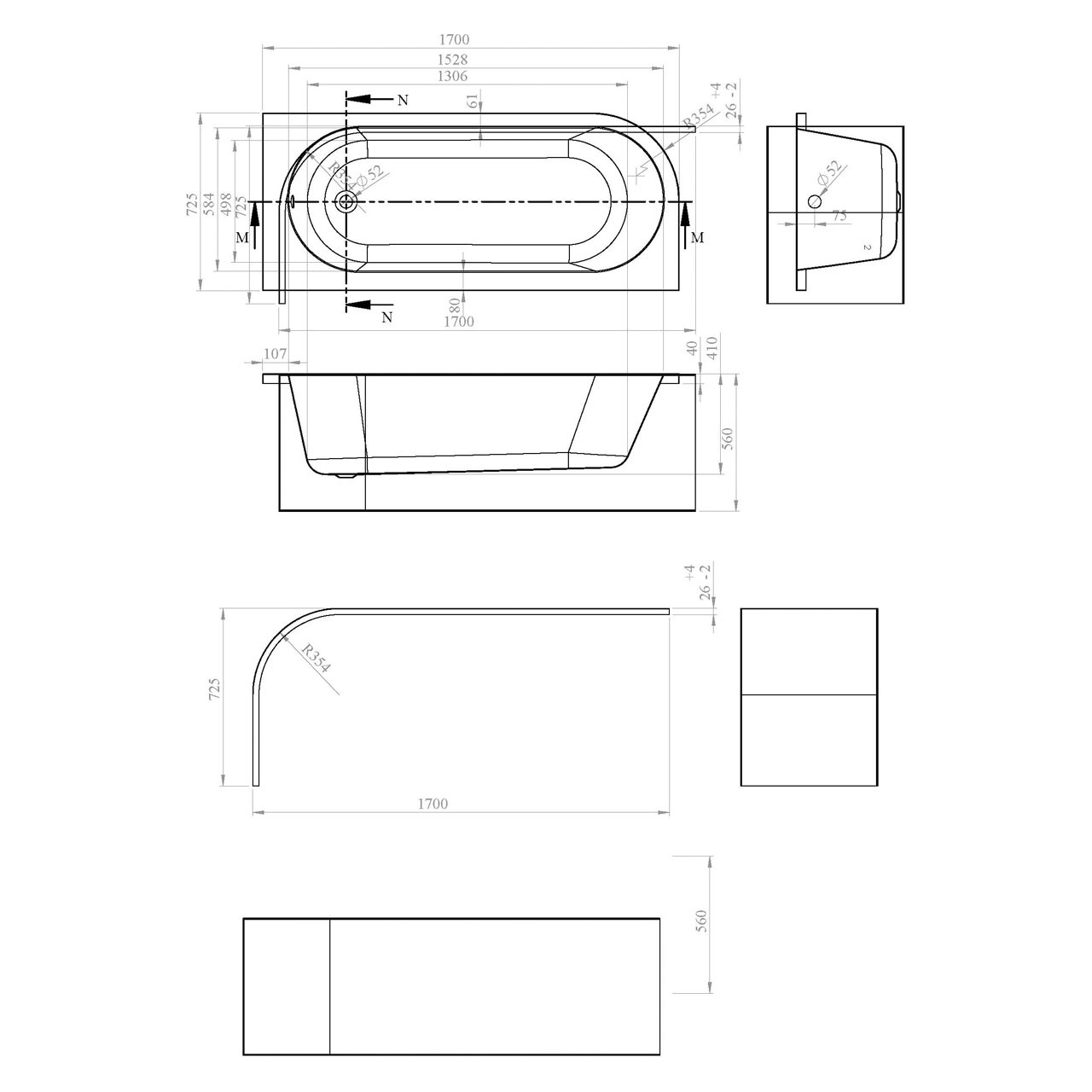 Nuie Crescent 1700mm x 725mm Right Hand Back to Wall Corner Bath - NBH209R