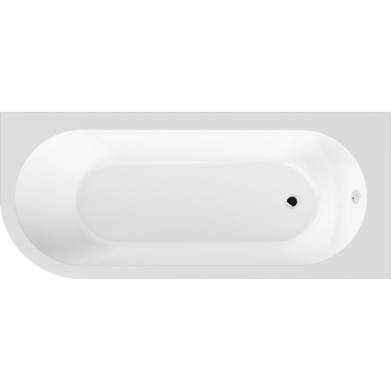 Premier Crescent Right Hand 1700mm x 725mm Back to Wall Corner Bath - NBH209R