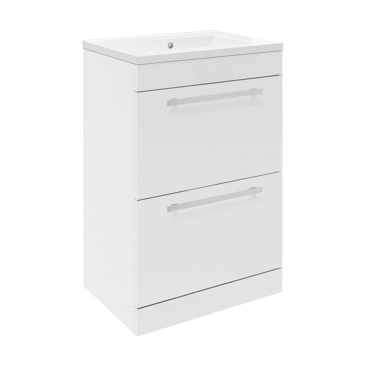 Premier Design Gloss White Floor Standing 500mm Cabinet 40mm Profile Basin Cab434 Nvm012