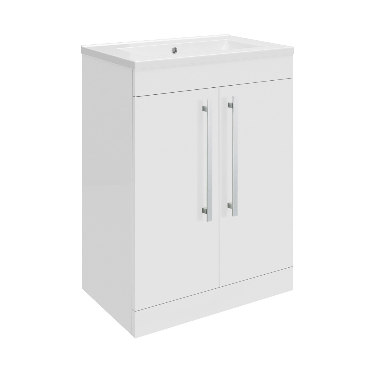 Premier Design Gloss White High Gloss White Floor Standing 600mm Cabinet & 40mm profile Basin - CAB330 & NVM013