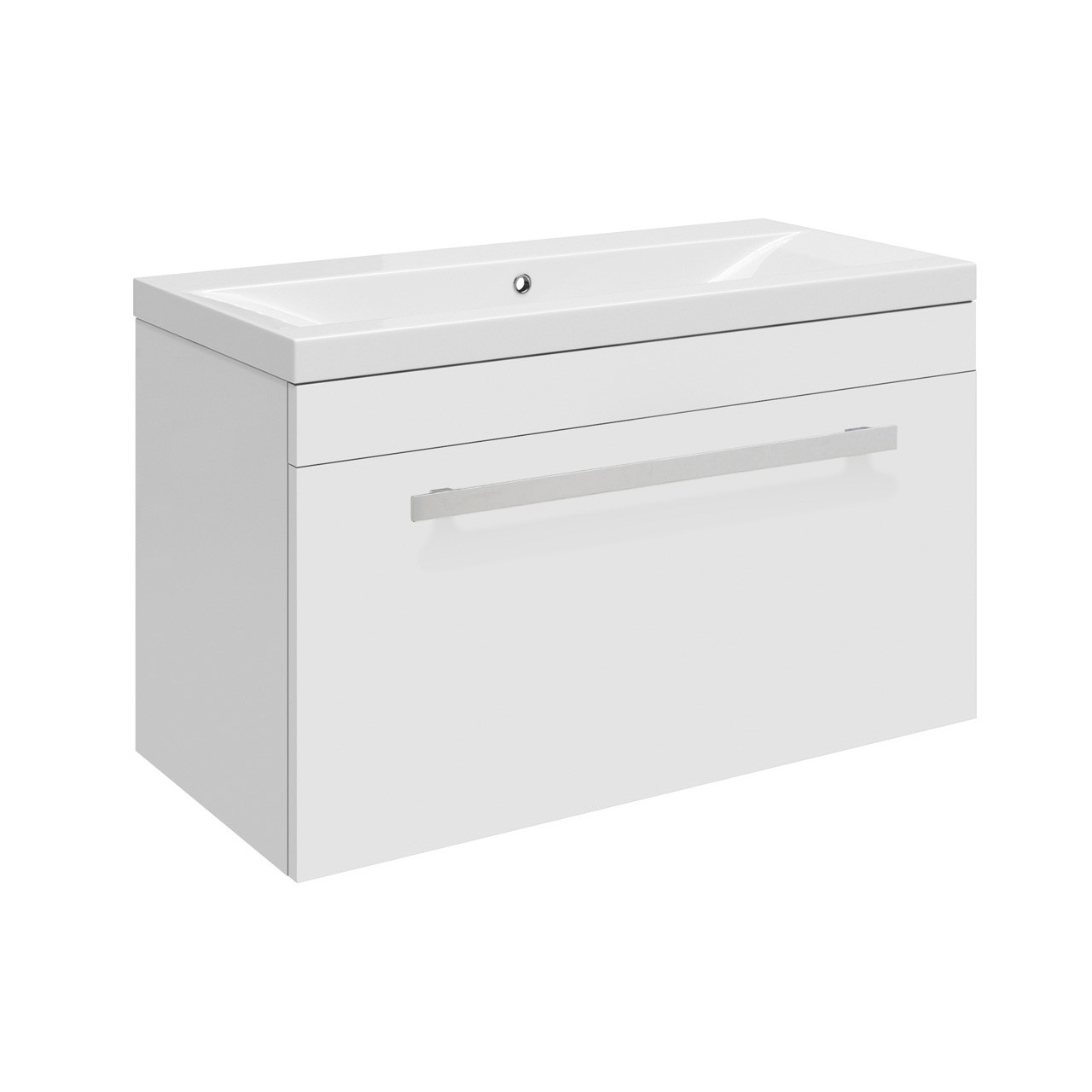 Premier Design Gloss White High Gloss White Wall Hung 600mm Cabinet & 40mm profile Basin - CAB148 & NVM013