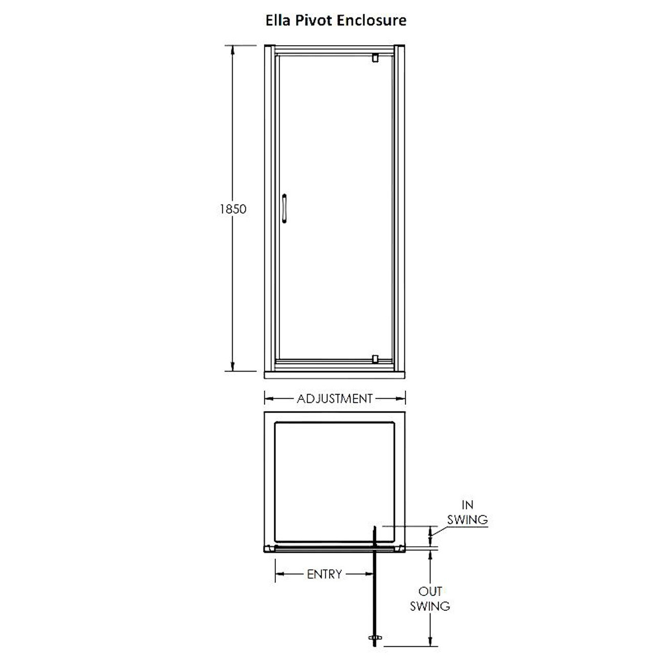 Premier Ella 700mm Pivot Door 1850mm - ERPD70