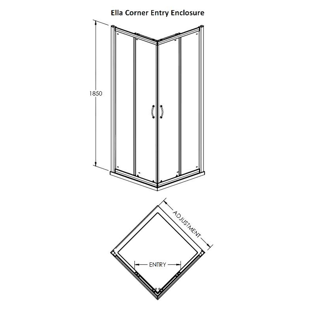 Premier Ella 760mm x 760mm Corner Entry Enclosure 1850mm - ERCE7676