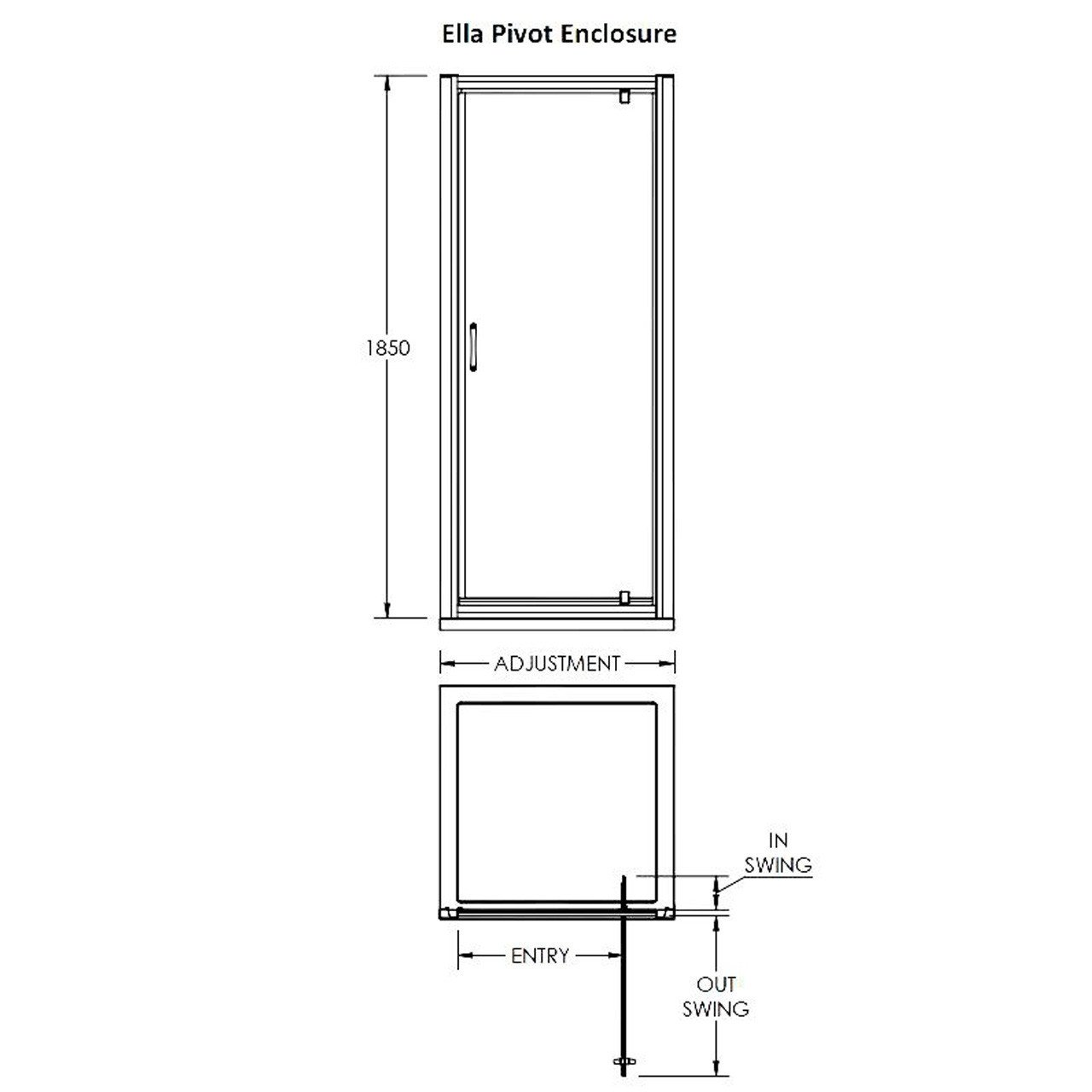 Premier Ella 800mm Pivot Door 1850mm - ERPD80