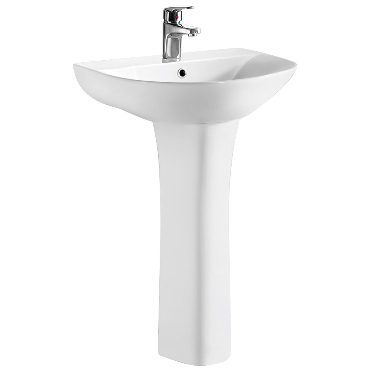 Nuie Freya 550mm Basin with 1 Tap Hole and Full Pedestal - NCG300