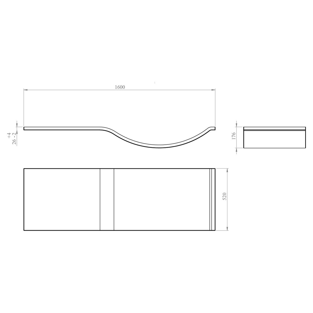 Nuie 1600mm P Shape Front Bath Panel - WBP203