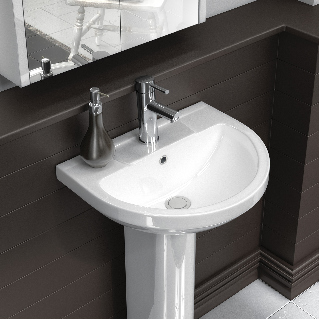 Premier Harmony White 500mm Basin & Pedestal - NCH604 & NCH603