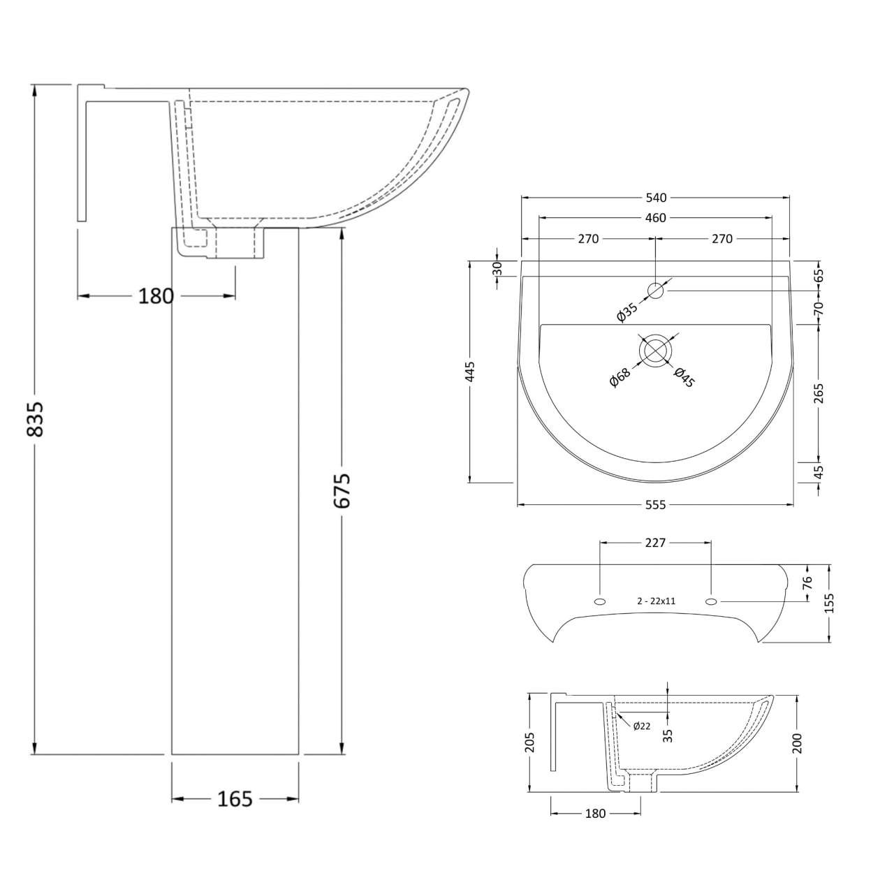 Premier Ivo 550mm Basin with 1 Tap Hole and Full Pedestal - Linedrawing - CIV002